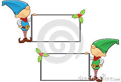 Elf Mascot - Holding Blank Board