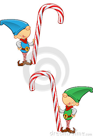 Elf Mascot - Holding A Candy Cane