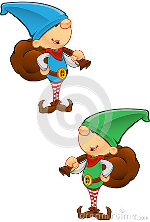 Elf Mascot - Holding A Sack
