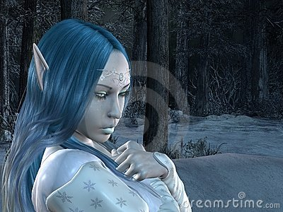 Elf princess in dark snowy forest