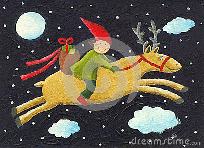 Elf on reindeer