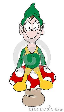 Elf sat on mushroom