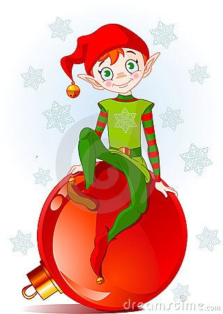 Free Elf Sitting On Christmas Ball Stock Images - 17387944
