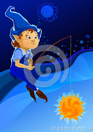 Elf in the sky royalty free stock photography image 9980007 for Fishing rod sun and moon