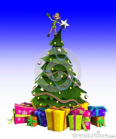 Elf sur l arbre de Noël
