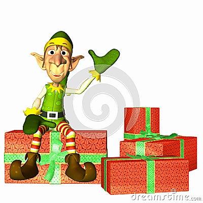 Free Elf With Presents Stock Image - 3519591
