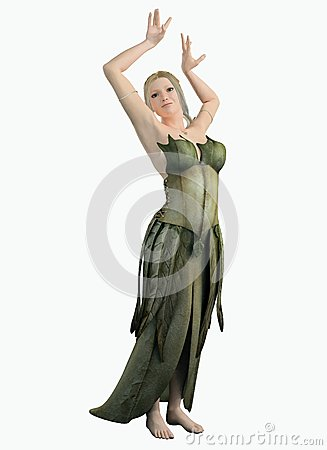 Elf Woman in a Green Leaf Dress