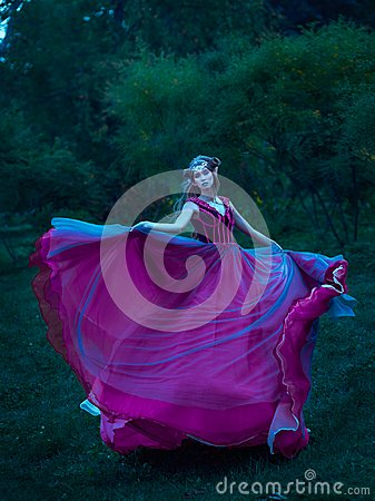 Free Elf Woman In Violet Dress Stock Photography - 106086502