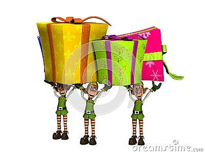 Elfe, die große Geschenke tragen