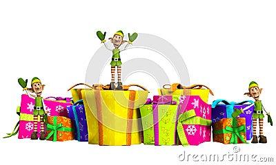 Elfes avec des cadeaux de Noël