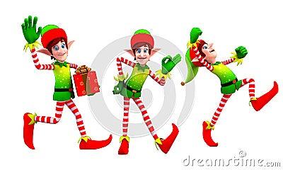 Elfes dansant avec le cadeau