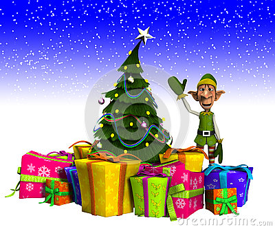 Elfo ed albero di Natale con neve