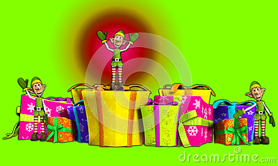 Elfy Z Bożenarodzeniowymi prezentami