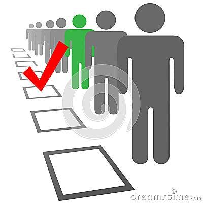 Elija a la gente en rectángulos del voto de la elección de la selección