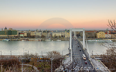 Elisabeth bridge and Pest, Budapest, Hungary