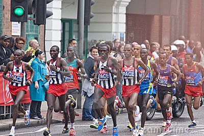 Elite men  athletes at London Virgin marathon 2010 Editorial Image