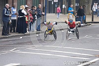 Elite wheelchair athletes at London marathon 2010 Editorial Stock Image