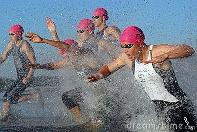 Elite Women s Triathlon Start B Editorial Photography