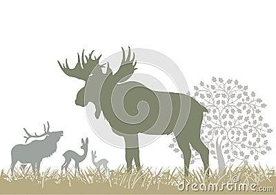 Elk and deer by tree