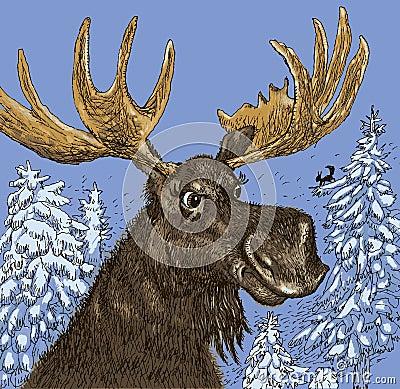 Free Elk In The Winter Wood. Vector Format Stock Photos - 49014183