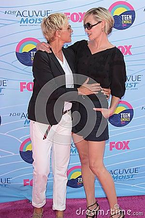 Ellen Degeneres,Portia De Rossi Editorial Photo