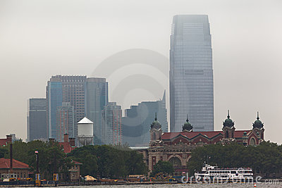 Ellis Island and New Jersey Editorial Stock Image