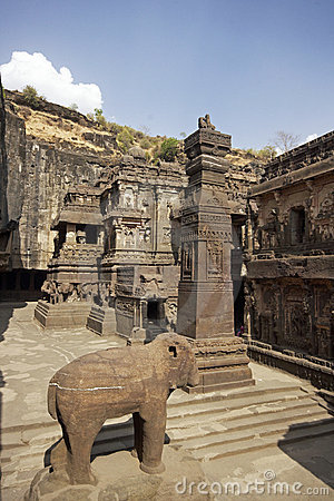 Ellora Caves. Courtyard of Ancient Hindu Temple
