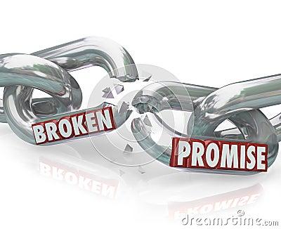 Elos de corrente da promessa quebrada que quebram a violação infiel