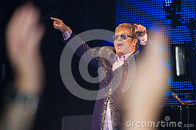 Elton John Live Concert seen from crowd Editorial Photography