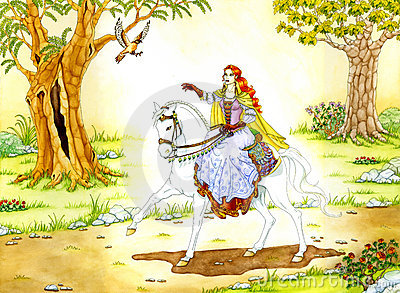 Elven Lady on white Horse