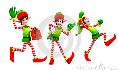 Elves dancing with gift