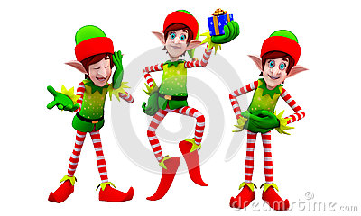 Elves with small gift box