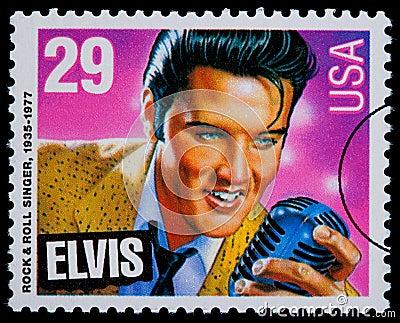 Elvis Presely Postage Stamp Editorial Image