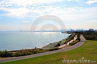 Elwood Beach and Melbourne city skyline
