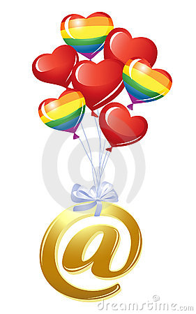 Em-símbolo com grupo de balões do coração