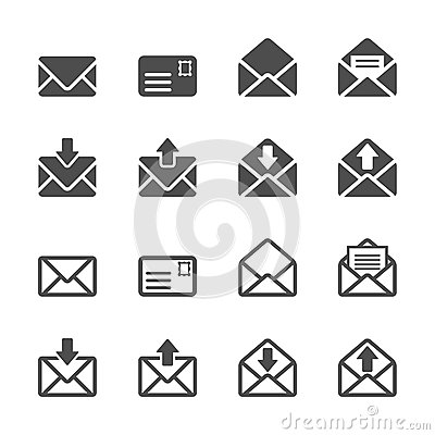 Free Email And Letter Icon Set, Vector Eps10 Stock Images - 45724144