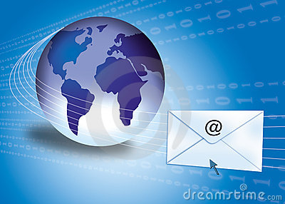 Email concept with globe