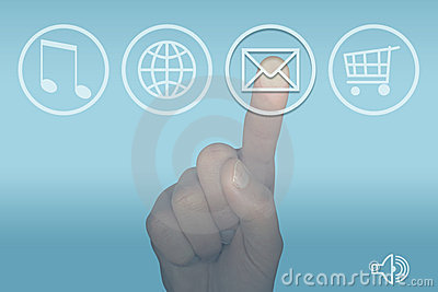 Email icon computer touch screen menu and hand