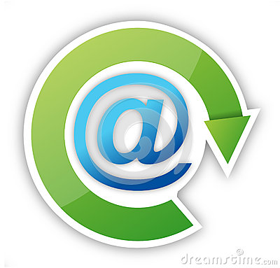 Email icon with green arrow sticker over