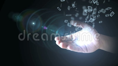 Email icon on hand in hand stock footage
