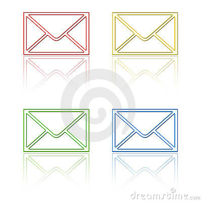 Email icons with reflection