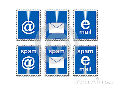 Email icons in stamp frames
