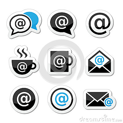 Email, internet cafe, wifi  icons set