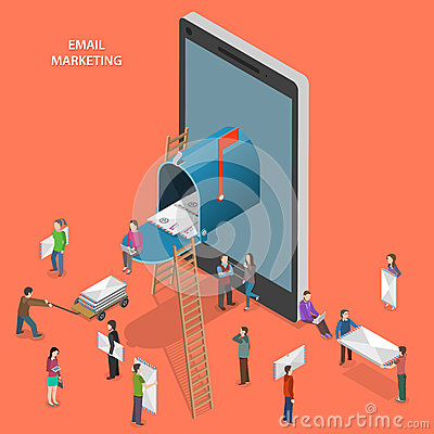 Free Email Marketing Flat Isometric Vector Concept. Royalty Free Stock Images - 55158399