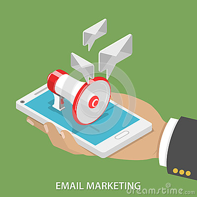 Free Email Marketing Flat Isometric Vector Concept. Royalty Free Stock Image - 60546406