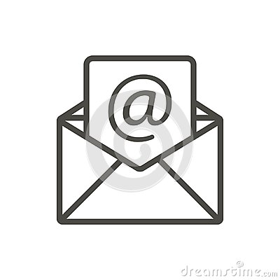Email message icon vector. Line open mail symbol. Vector Illustration