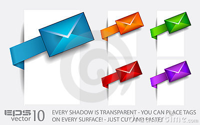 Email paper tag with transparent shadows.