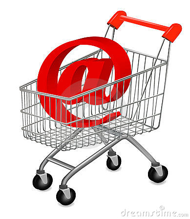 Email and shopping cart, concept of E-commerce