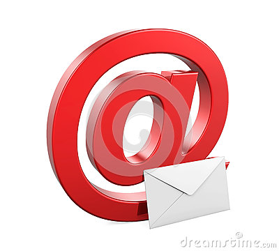 Email Sign and Envelope Isolated Stock Photo