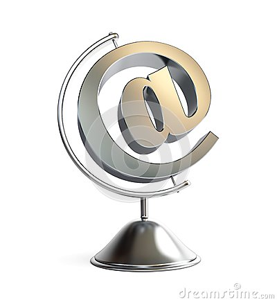 Email sign globe 3d Illustrations
